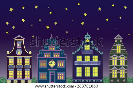 Night horizontal background with decorated fronts of cute houses, bright windows, stars and grass.  - stock vector