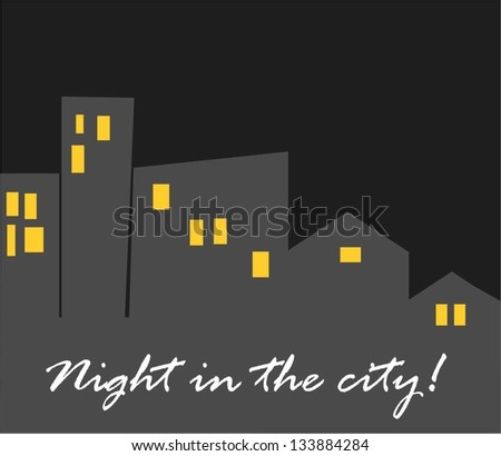 Night in the city - stock vector