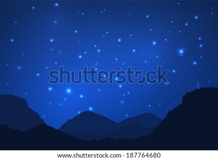Night in the mountains vector background. Eps10 - stock vector