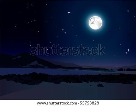 night landscape - stock vector