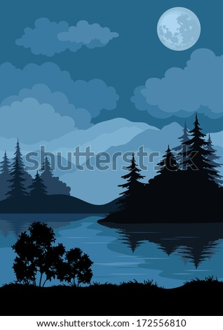 Night landscape: mountains lake, trees and moon. Element of this image furnished by NASA (www.visibleearth.nasa.gov). Vector - stock vector