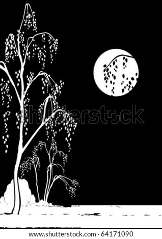 night landscape of birch trees on the background of the moon - stock vector