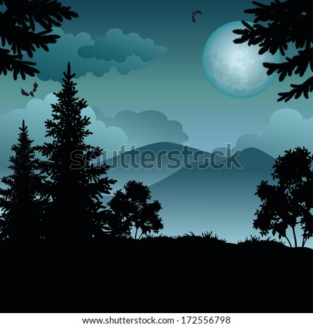 Night landscape: trees, moon, mountains and bats. Element of this image furnished by NASA (www.visibleearth.nasa.gov). Vector - stock vector