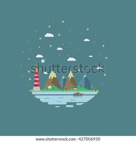 Night landscape. Vector illustration.