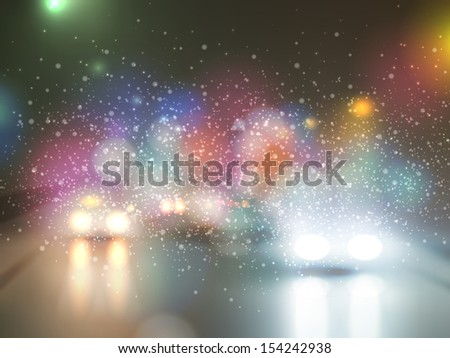 night landscape with a riding machines - stock vector