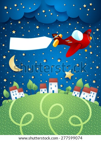 Night landscape with airplane, banner and village, vector illustration eps10 - stock vector