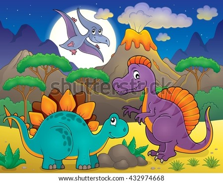 Night landscape with dinosaur theme 5 - eps10 vector illustration.