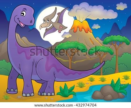 Night landscape with dinosaur theme 1 - eps10 vector illustration. - stock vector