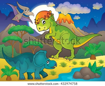 Night landscape with dinosaur theme 4 - eps10 vector illustration. - stock vector
