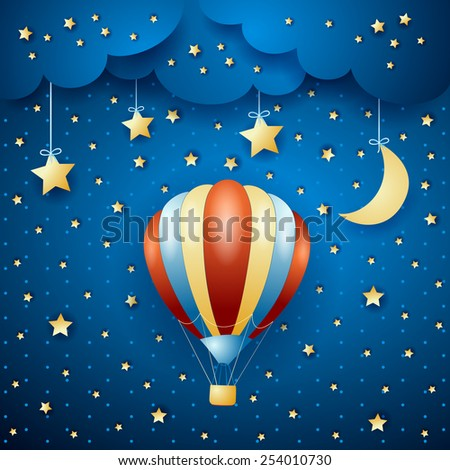 Night landscape with hot air balloon, vector eps10 - stock vector