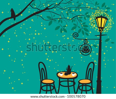 night landscape with night cafe in the streetlight