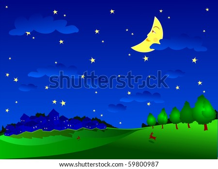 Night landscape with the campaign, hare and moon smiling. Vector