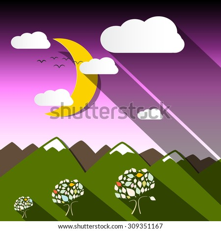 Night Mountain Vector Landscape with Moon