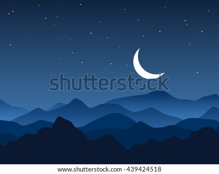Night mountains vector background