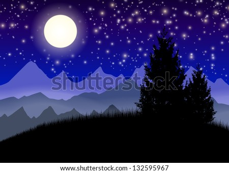 Night mountains with moon and stars