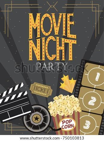 Night movie party invitation card birthday stock vector 2018 night movie party invitation card birthday party invitation or poster editable vector illustration stopboris Gallery