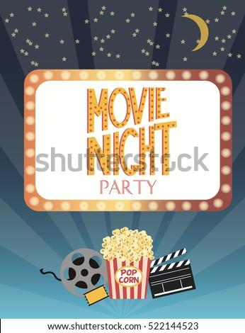 Night movie party invitation card birthday stock vector 522144523 night movie party invitation card birthday party invitation or poster vector illustration stopboris Gallery
