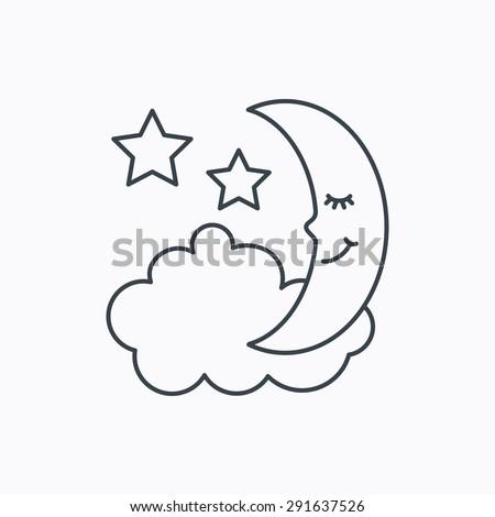 Night Sleep Icon Moon Stars Sign Stock Vector Royalty Free