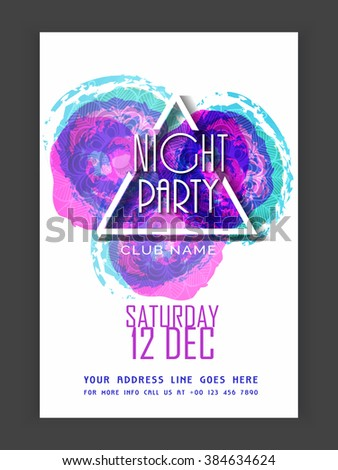 Night Party celebration Flyer, Banner or Pamphlet with colorful abstract design. - stock vector
