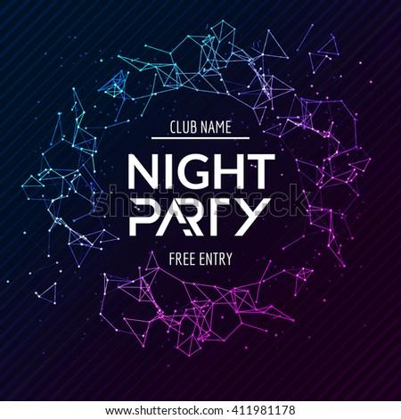 Night Party poster. Shiny banner club disco. Dj dance summer invitation. - stock vector