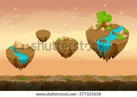 Night prairie game landscape, unending game background with rivers on the islands. Gui nature, interface landscape, travel game ui. Vector illustration - stock vector