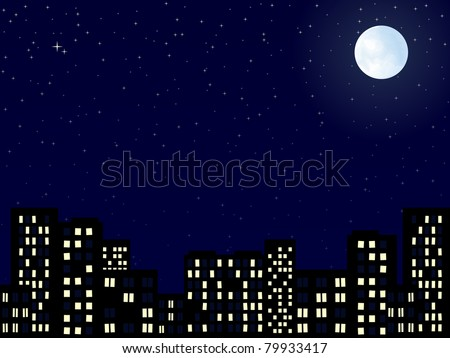 night scenery of building city with moon - stock vector
