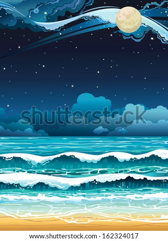 Night seascape with full moon and starry sky.