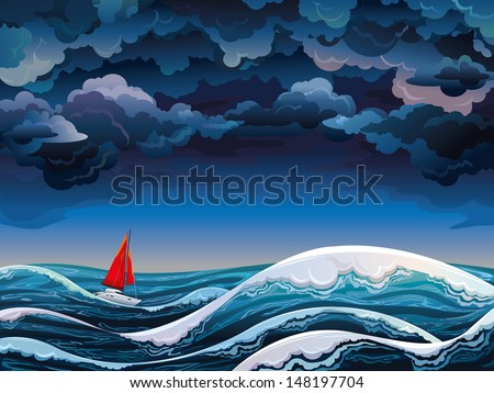 Night seascape with red sailboat and stormy sky - stock vector
