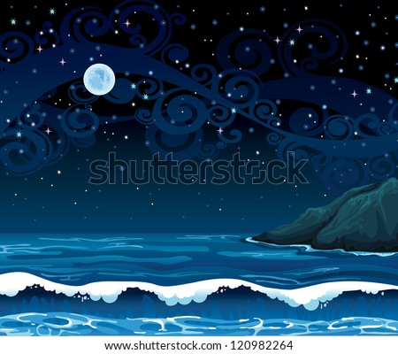 Night seascape with waves, island and full moon on a starry sky background - stock vector