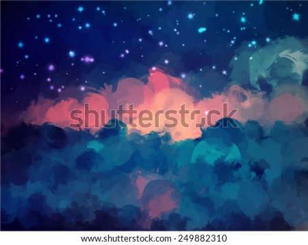 Night sky brush strokes background. Vector version - stock vector