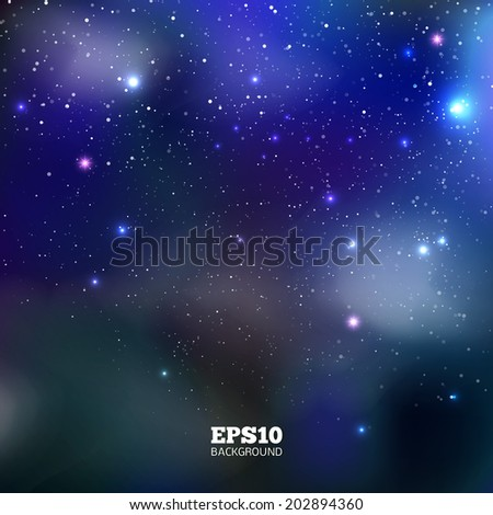 Night sky. Colorful Universe filled with stars, nebula and galaxy. Vector illustration - stock vector