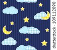 Night sky seamless pattern - stock vector