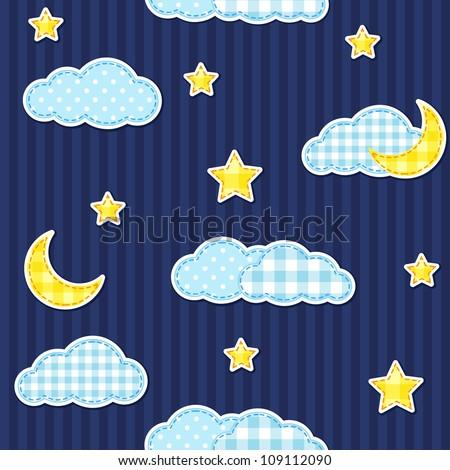 Night sky seamless pattern - stock vector
