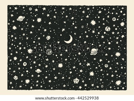 Night Sky. Space With Stars And Planets.Hand-Drawn Doodle Background. Vector Illustration