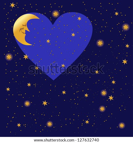 night sky valentine's background with heart, vector