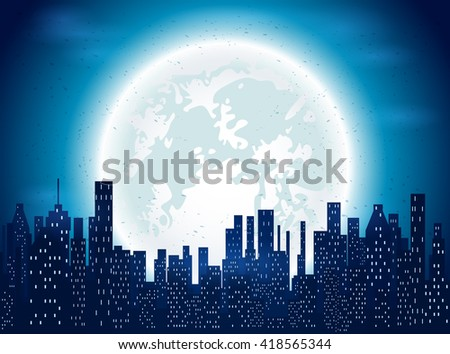 Night sky with blue Moon over the city, illustration.