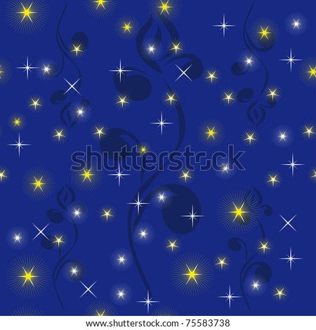 night sky with bright stars. Illustration - stock vector