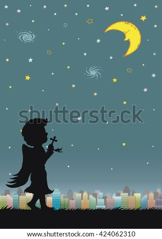 Night sky with crescent moon and city. Silhouette of angle praying at night. A4 book cover design. Cartoon hand drawn illustration. - stock vector