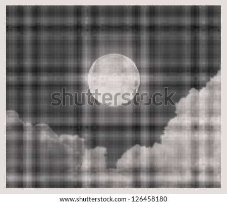 night sky with moon and clouds halftone style - stock vector
