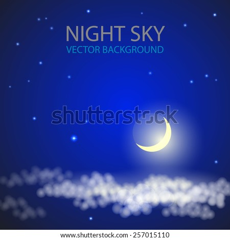 Night sky with moon clouds stars. Vector illustration. - stock vector