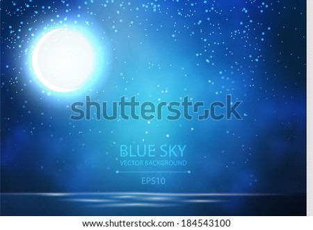night sky with ocean, moon & stars vector background - stock vector