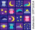 Night sky with owls. Seamless vector pattern - stock