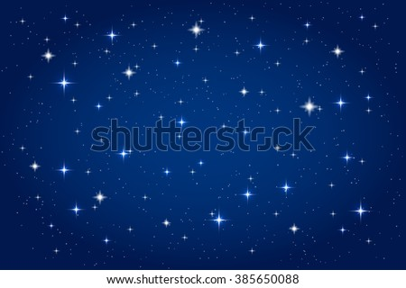 Night sky with shining stars background. Vector horizontal template - stock vector