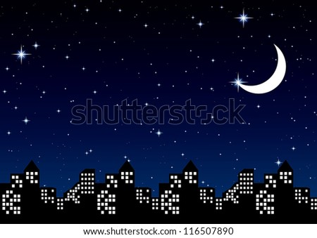 night sky with stars and Moon in city, vector illustration - stock vector
