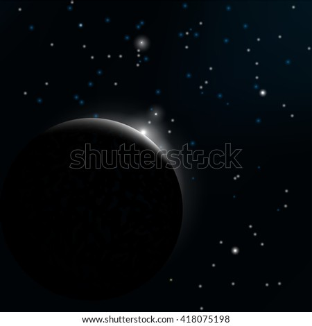 Night sky with stars and planet. Vector.