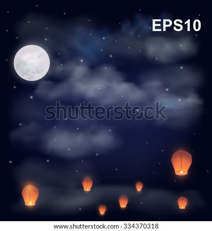 Night sky with the moon, stars and chinese wish lanterns. Vector illustration - stock vector