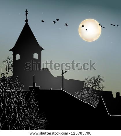 Night sky with urban environment - stock vector