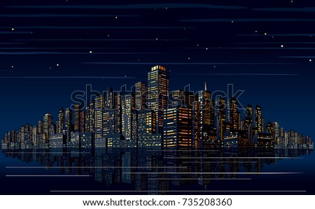 Night Skyline Vector. Cityscape Vector