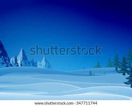 Night snowy scene with ridge and christmas trees. Winter landscape of mountains and pines on sides. Vector illustration for christmas, new year's day, winter holiday, new year's eve, etc