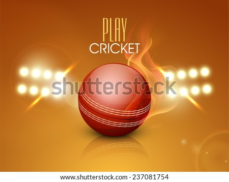Night stadium lights with red glossy cricket ball in flame for cricket sports concept. - stock vector